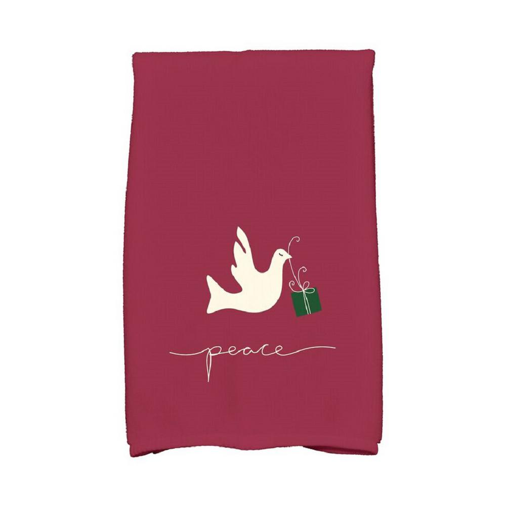 16 In X 25 In Cranberry Peace Dove Holiday Animal Print Kitchen