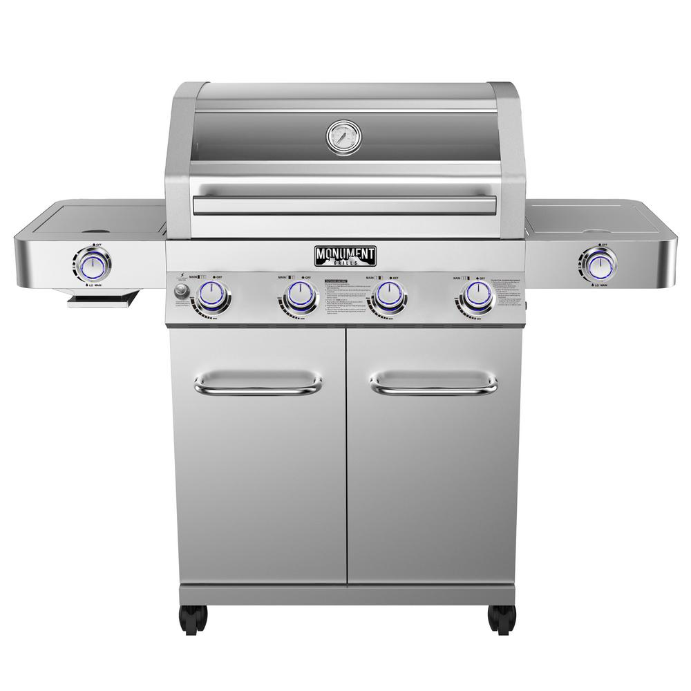 Monument Grills 4-Burner Propane Gas Grill in Stainless with Clear View Lid, LED Controls, Side and Sear Burners