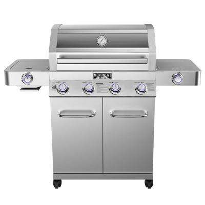 4-Burner Propane Gas Grill in Stainless with Clear View Lid, LED Controls, Side and Sear Burners