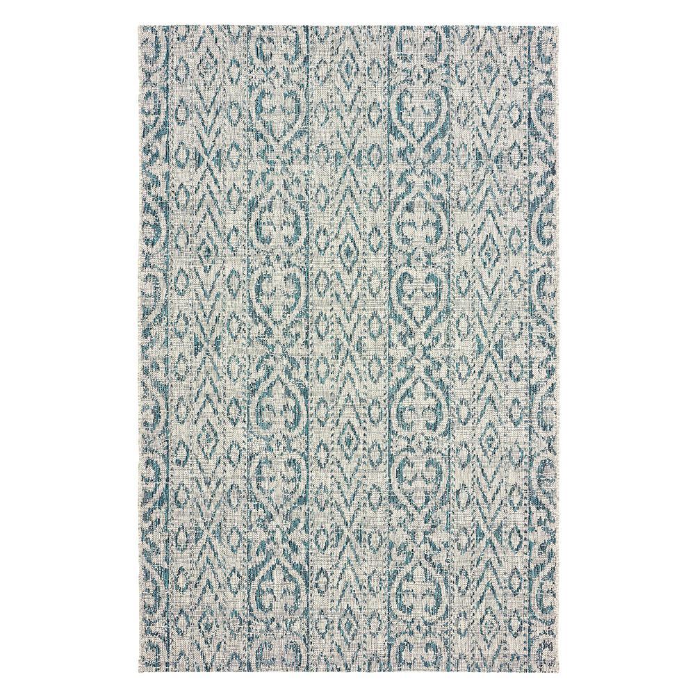Sun Shower Blue/Green 5 ft. x 8 ft. Indoor/Outdoor Rectangular Area Rug
