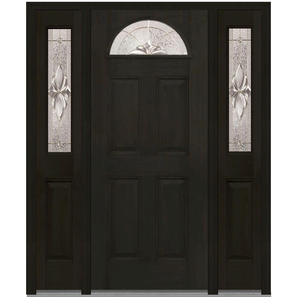 MMI Door 64 in. x 80 in. Heirloom Master Right-Hand 1/4-Lite Decorative Fiberglass Mahogany Prehung Front Door with Sidelites