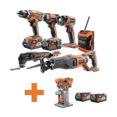18-Volt Lithium-Ion Cordless Combo Kit (6-Tool) (2) 4Ah Batt and Charger w/Bonus Brushless Trim Router and (2) 4Ah Batt