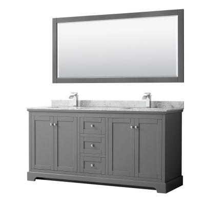Avery 72 in. W x 22 in. D Bath Vanity in Dark Gray with Marble Vanity Top in White Carrara with White Basins and Mirror