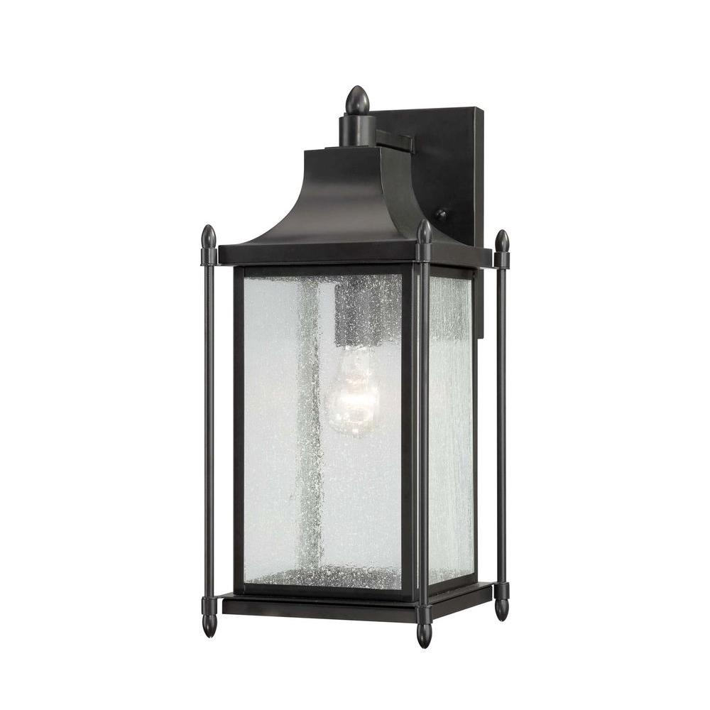 Satin Wall Mount Outdoor Black Incandescent Lantern