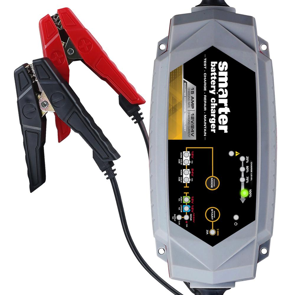 15 Amp 12-Volt/24-Volt Battery Charger with Repair Supply and Engine Start