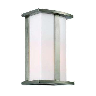 1-Light Stainless Steel Cathedral Outdoor Wall Lantern