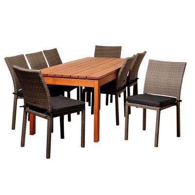Lynwood 9-Piece Wood Outdoor Dining Set with Grey Cushions