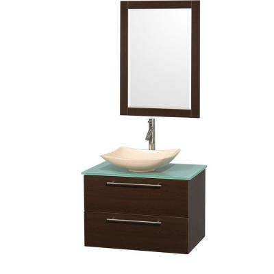 Amare 30 in. Vanity in Espresso with Glass Vanity Top in Green, Marble Sink and 24 in. Mirror