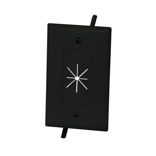 Commercial Electric 1 Gang Flexible Opening Cable Wall Plate Black 5028 Bk The Home Depot