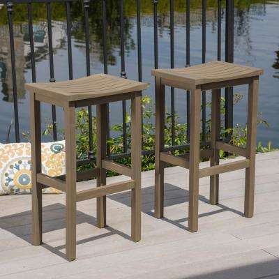 Gray Wood Outdoor Bar Stool (2-Pack)