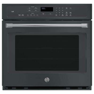 Cafe 30 in. Single Electric Smart Wall Oven Self-Cleaning with Convection and WiFi in Black Slate, Fingerprint Resistant