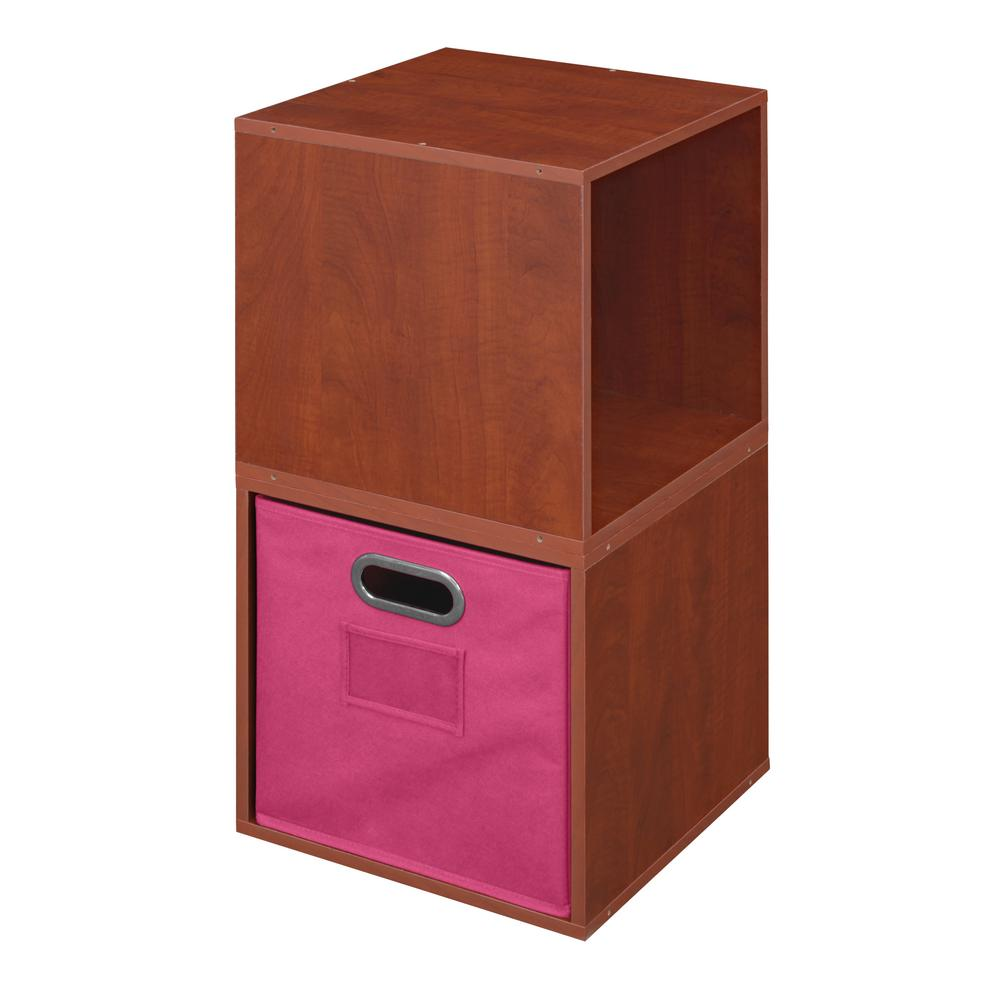 Cubo 13 in. x 26 in. Warm Cherry/Pink 2-Cube and Bin