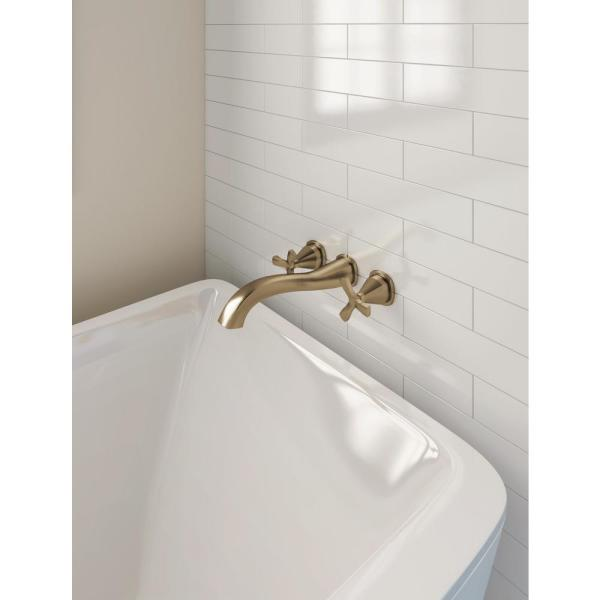 Delta Stryke 2 Handle Wall Mount Tub Filler Faucet Trim Kit In Champagne Bronze Valve Not Included T57766 Czwl The Home Depot