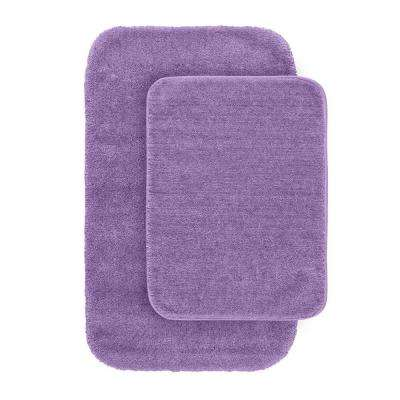 Traditional Purple 21 in. x 34 in. Washable Bathroom 2 -Piece Rug Set
