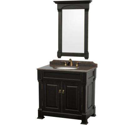 Andover 36 in. W x 23 in. D Vanity in Black with Granite Vanity Top in Imperial Brown with White Basin and Mirror
