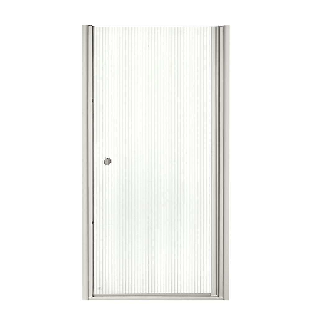 KOHLER Fluence 35-1/4 in. x 65-1/2 in. Semi-Framed Pivot Shower Door in Silver with Handle