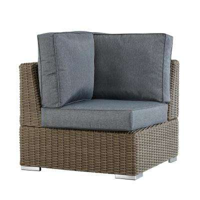 Camari Mocha Wicker Corner Outdoor Sectional Chair with Gray Cushion