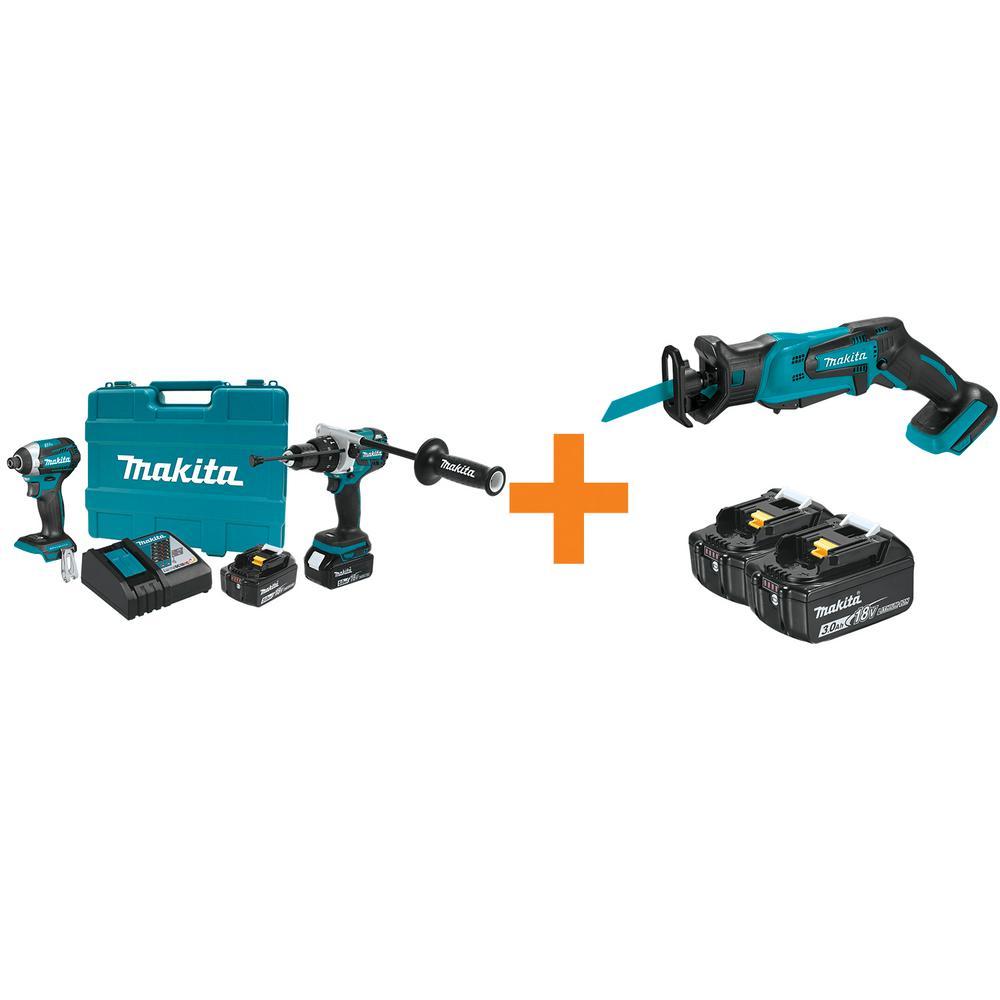 18V LXT Lithium-Ion BL Cordless Hammer Drill/Impact Driver Combo Kit w/BONUS 18V Compact Recipro Saw and 18V Battery 2Pk