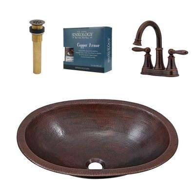 Wallace All-In-One 19 in. Undermount or Drop-In Copper Sink Design Kit with Pfister Bronze Faucet and Drain