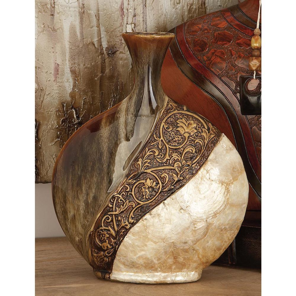 14 in. Ceramic and Capiz Urn Decorative Vase in Brown and Gold