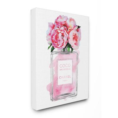 """24 in. x 30 in. """"Glam Perfume Bottle V2 Flower Silver Pink Peony"""" by Amanda Greenwood Printed Canvas Wall Art"""