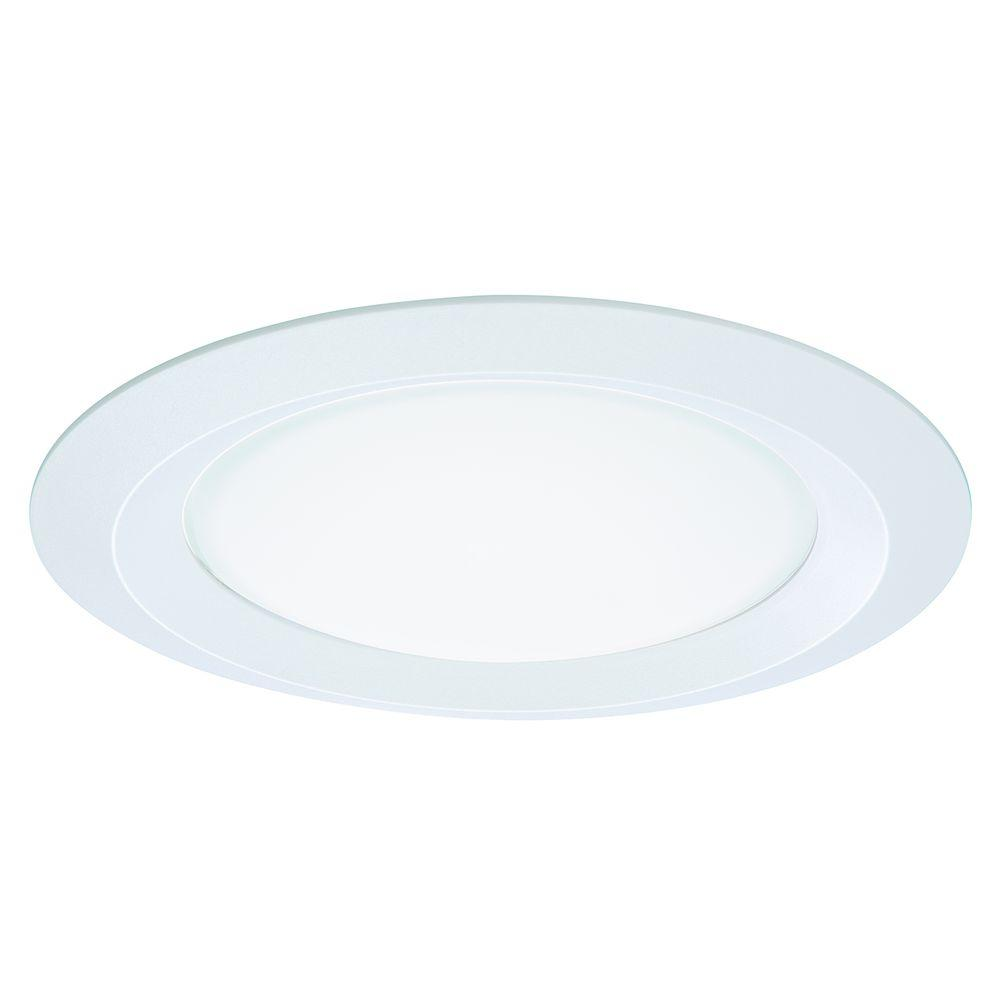 Halo E26 Series 5 In. White Recessed Ceiling Light Self Flanged Shower Trim With Frosted Glass
