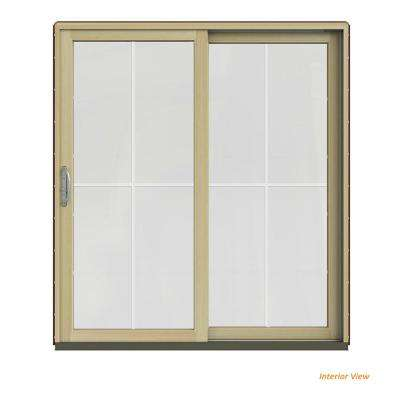 72 in. x 80 in. W-2500 Contemporary Red Clad Wood Right-Hand 4 Lite Sliding Patio Door w/Unfinished Interior