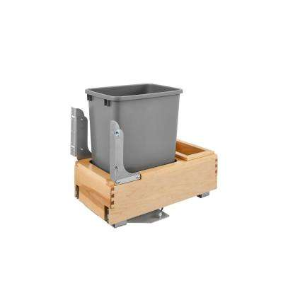 19.25 in. H x 12 in. W x 21.75 in. D Single Pull-Out Bottom Mount Wood and Silver Waste Container with Rev-A-Motion