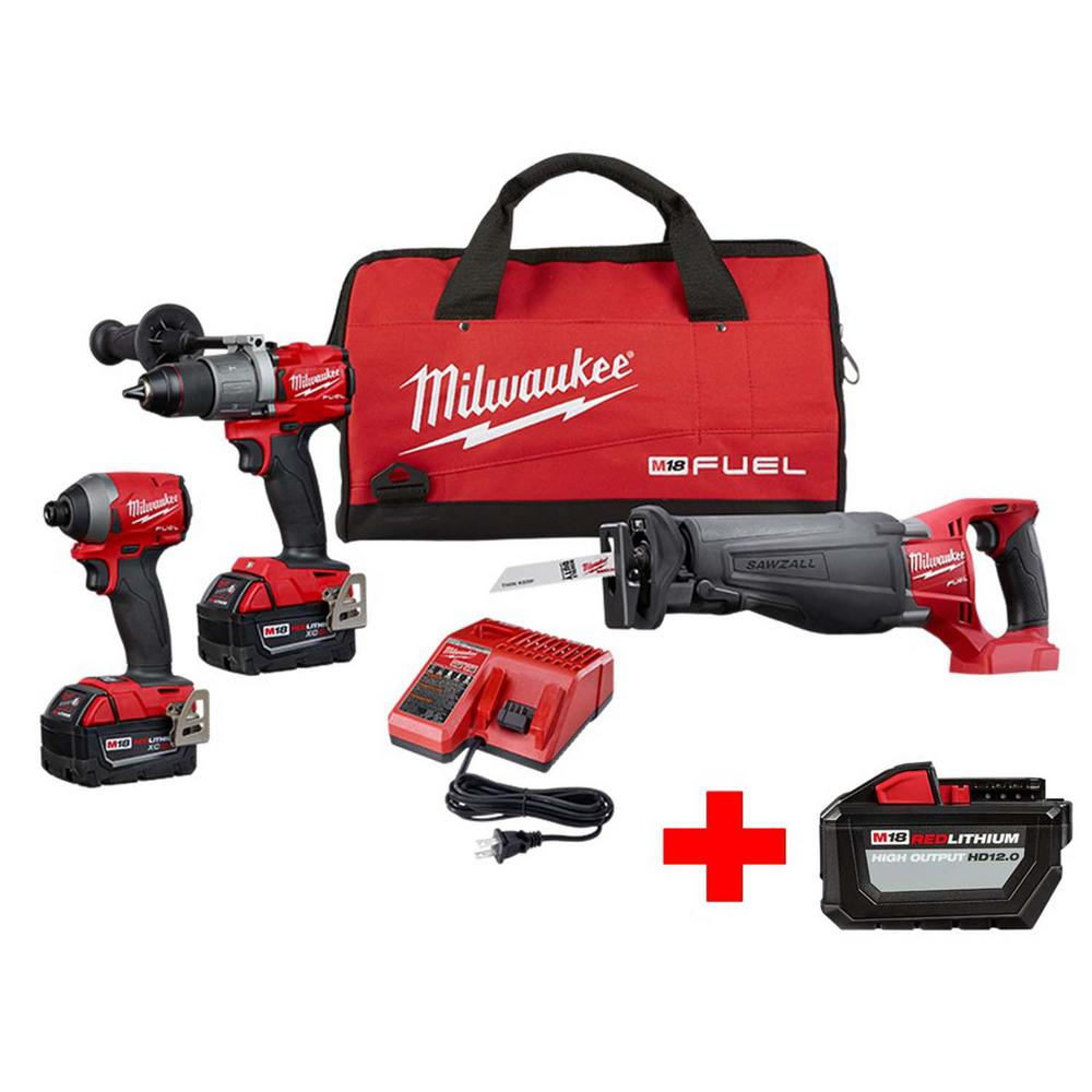 Milwaukee M18 FUEL 18-Volt Lithium-Ion Brushless Cordless Combo Kit (3-Tool) with Free M18 12.0 Ah Battery