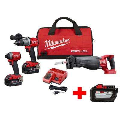 M18 FUEL 18-Volt Lithium-Ion Brushless Cordless Combo Kit (3-Tool) with Free M18 12.0 Ah Battery