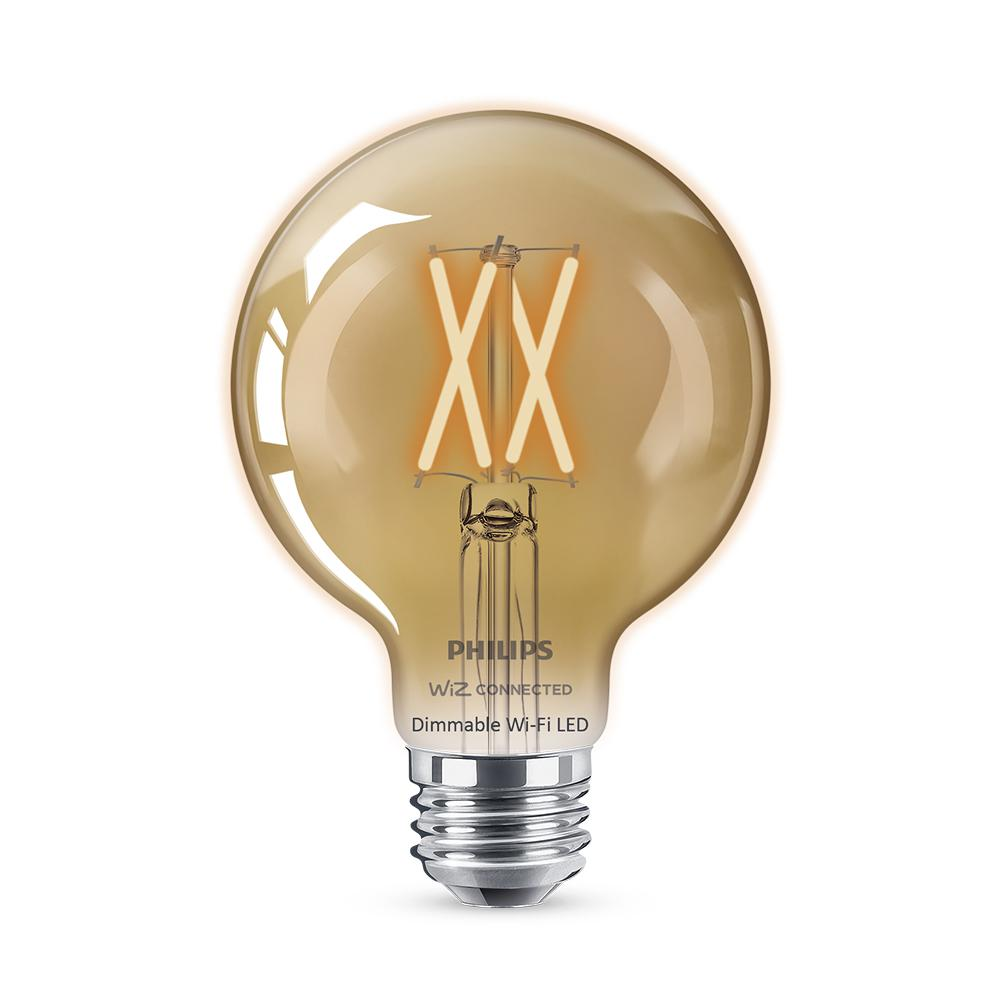 Philips Amber G25 LED 40W Equivalent Dimmable Smart Wi-Fi Wiz Connected Wireless Light Bulb