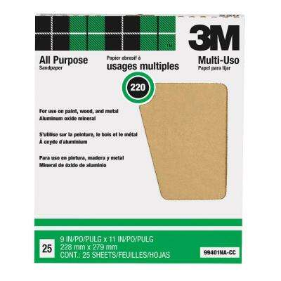 9 in. x 11 in. 220 Grit Aluminum Oxide Sandpaper (25/Sheets) (Case of 10)