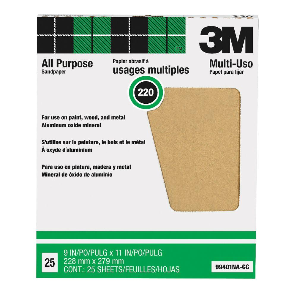 9 in. x 11 in. 220 Grit Aluminum Oxide Sandpaper (25/Sheets)