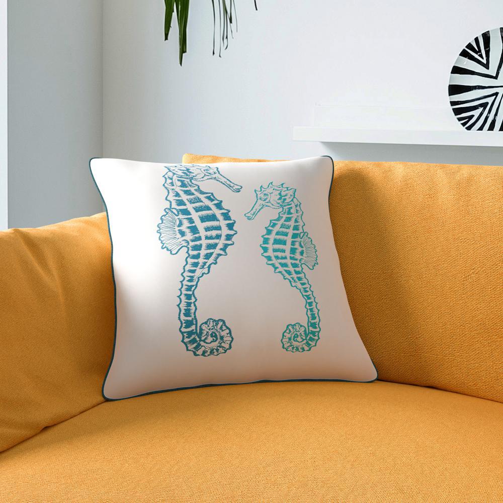 Seahorse Teal Decorative Pillow (Set of 2)