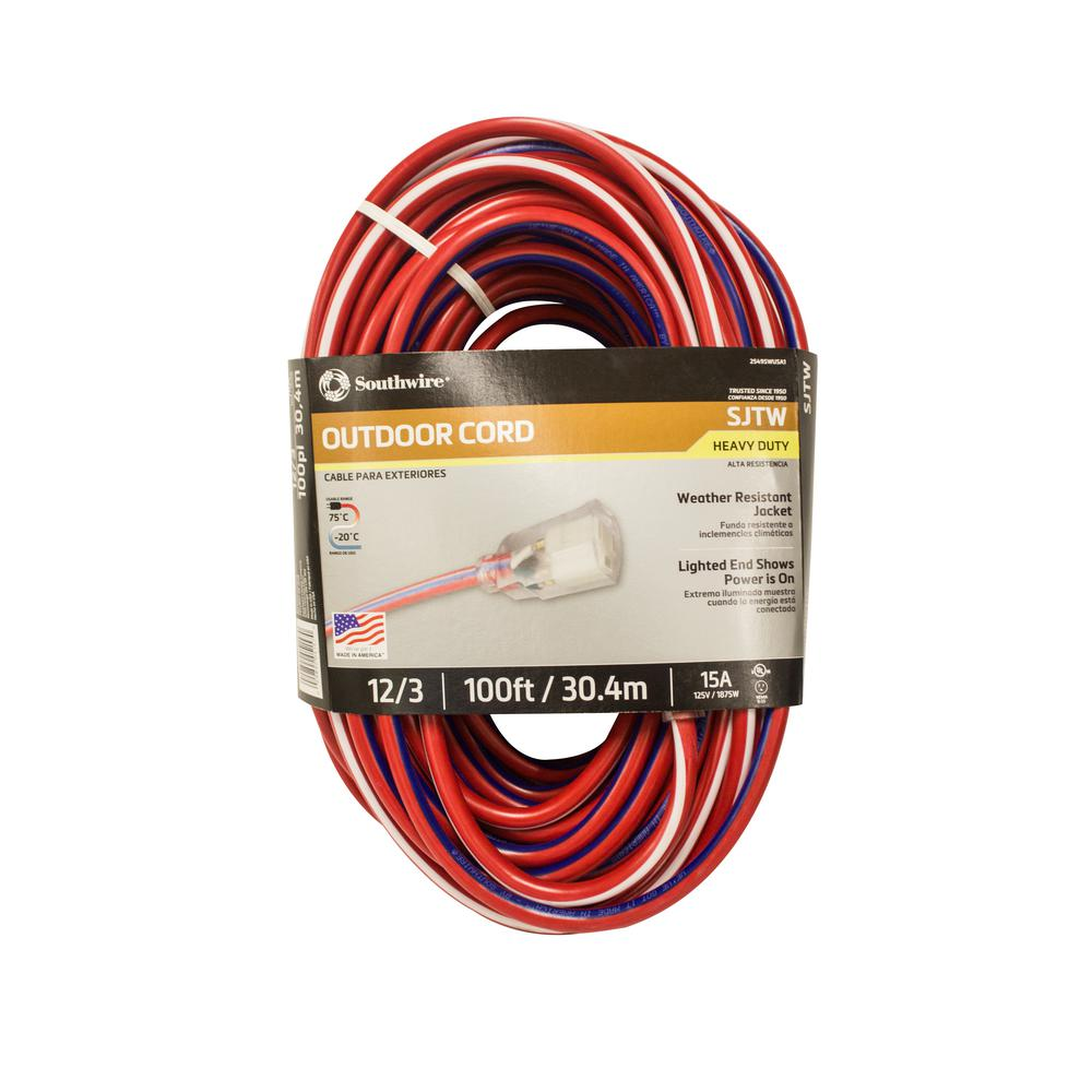 Southwire 50 ft. 12/3 SJTW USA Outdoor Heavy-Duty Extension Cord ...