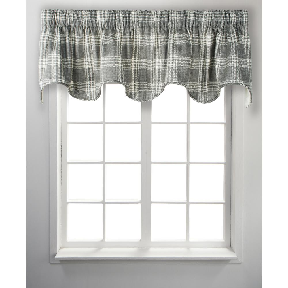 Ellis Curtain Bartlett 17 in. L Cotton Lined Scallop Valance in Grey