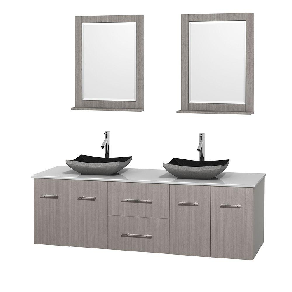 Wyndham Collection Centra 72 in. Double Vanity in Gray Oak with Solid-Surface Vanity Top in White, Black Granite Sinks and 24 in. Mirror