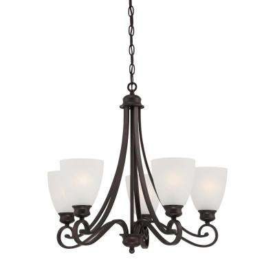 Haven 5-Light Espresso Chandelier With Etched Glass Shades