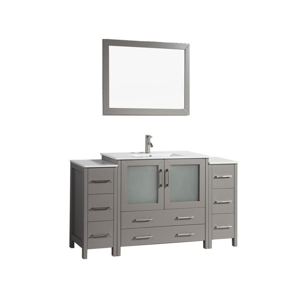60 in. W x 18.5 in. D x 36 in. H Bathroom Vanity in Grey with Single Basin Vanity Top in White Ceramic and Mirror
