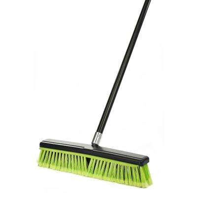 18 in. Green Indoor Multi-Surface 2-in-1 Squeegee Push Broom