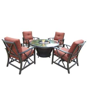6-Piece Metal Patio Fire Pit Conversation Set with Red Cushions