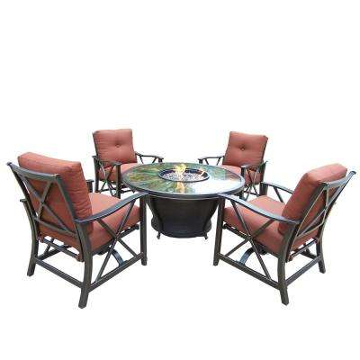 7-Piece Metal Patio Fire Pit Conversation Set with Red Cushions