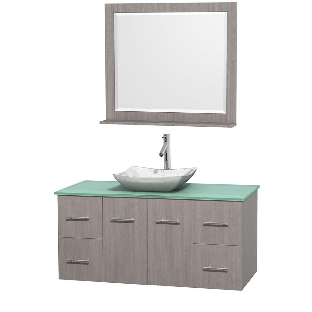 Centra 48 in. Vanity in Gray Oak with Glass Vanity Top