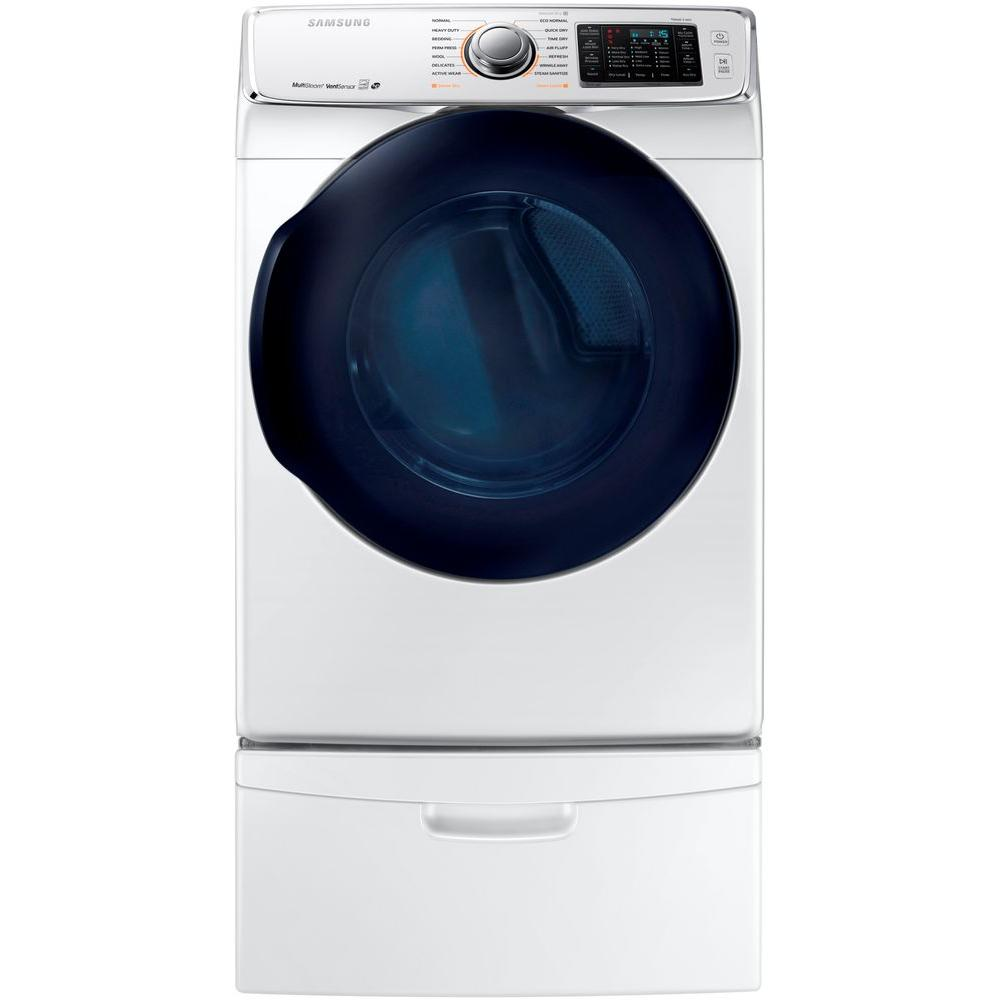 Samsung 7 5 cu ft gas dryer with steam in white energy for 5 star energy