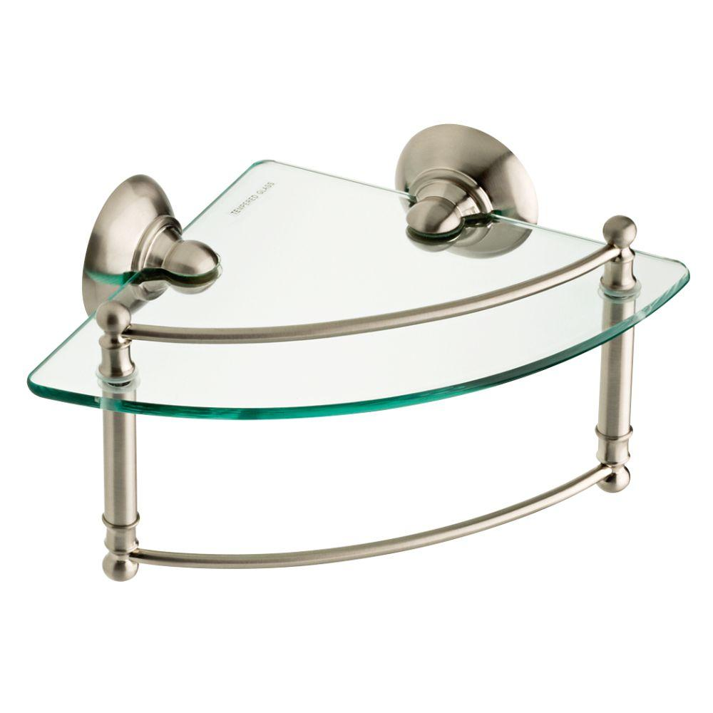 W Glass Corner Shelf With Hand Towel Bar In Brushed Nickel