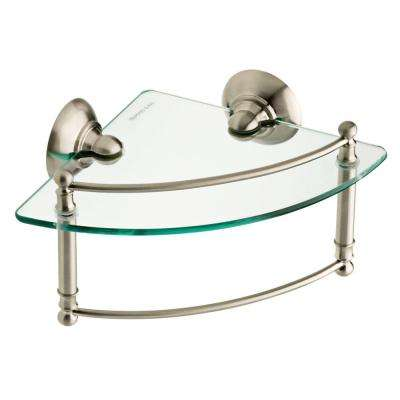 8 in. Glass Corner Shelf with Hand Towel Bar in SpotShield Brushed Nickel