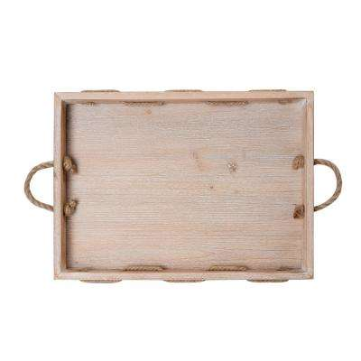 19 in. Natural Wood Tray with Rope Handles