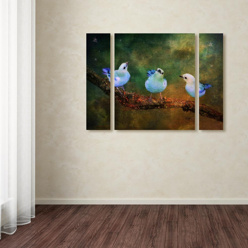 Trademark Fine Art 30 In X 41 In Three Little Blue Birds By Lois