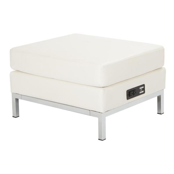 Terrific White Faux Leather Ottoman Modular Component With Chrome Base And Ac Usb 3 0 Charging Station Pabps2019 Chair Design Images Pabps2019Com