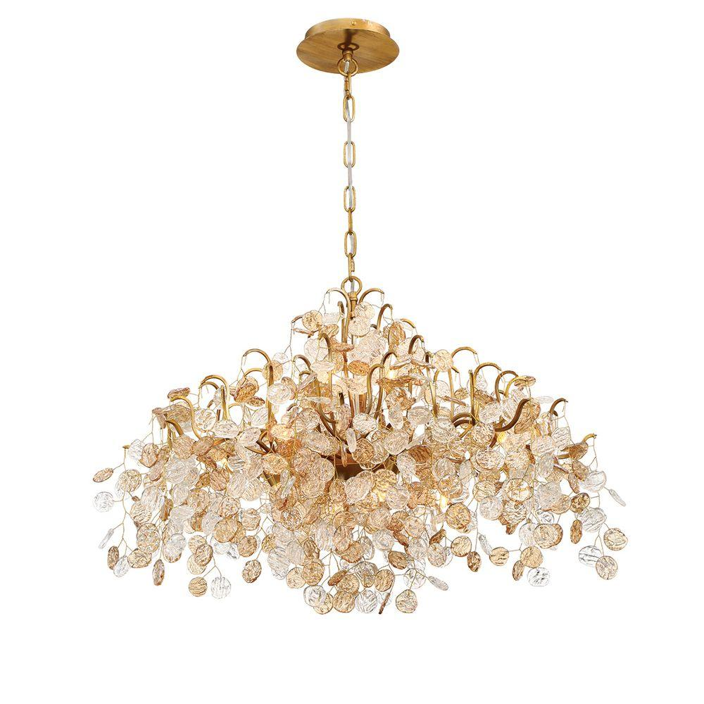 Campobasso 8-Light Gold Chandelier with Glass Wafers Shade